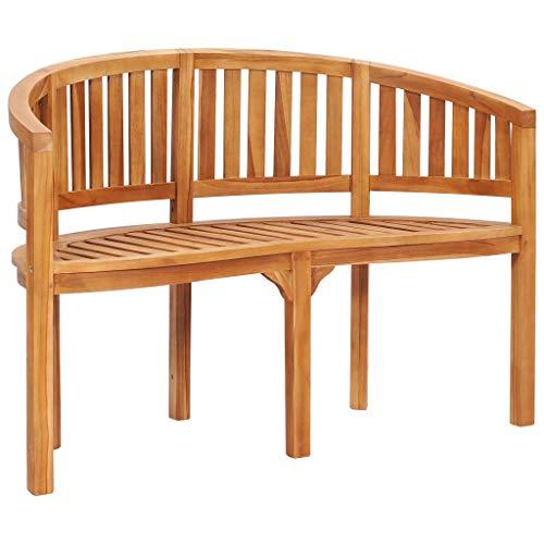 Festnight Bananenbank 120 cm massief teakhout teak meubels tuinmeubelen tuinbank buitenstoel