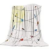 Queen Area Fleece Blanket Throw Blanket Various Type of Birds Sitting and Chirping on Wires Soft Blanket Warm Cozy Throw for All Seasons for Couch Bed Sofa 39' x 49'