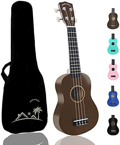 POMAIKAI Soprano Wood Ukulele kid Starter Uke Hawaii kids Guitar 21 Inch with Gig Bag for kids Students and Beginners (Blue)