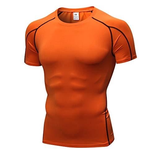 Kurzarm Herren T-Shirt Kompressionsshirt Funktionsshirt Einfarbig Atmungsaktiv und Schnell Trocknend Sportshirt Laufshirt Männer O-Ausschnitt Slim Fit Basic Männer Drucken Sweatshirt Pullover