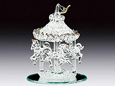 DAR Giftware Glass Carousel with Three Horses Figurine Collectible THREE AND A HALF INCHES Tall