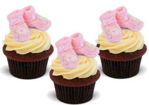 TÖCHTERCHEN ROSAFARBENE BABYSCHUHE - 12 essbare hochwertige stehende Waffeln Kuchen Toppers - BABY GIRL PINK BOOTIES