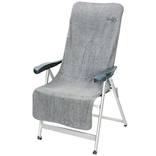 Siehe Beschreibung Klappstuhl Frottee-Schonbezug Größe M aus Baumwolle in hellgrau 135x58 cm: Sitzbezug Gartenstuhl-Auflage Stuhlbezug Liegestuhlauflage