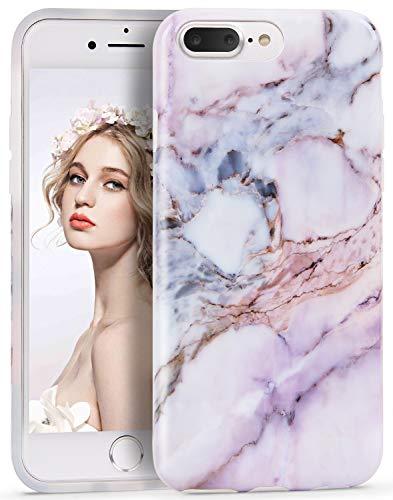 Imikoko® Hülle für iPhone 8 Plus/iPhone 7 Plus Marmor Hülle Matt Soft Silicone Slim TPU Handytasche Flexible Schutzhülle Soft Back Cover Gummi Dünn