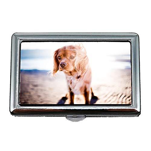 Zigaretten-Aufbewahrungsbehälter / -Kasten, entzückender Tierunschärfe-Eckzahn-Nahaufnahme-niedlicher Hund, Visitenkarten-Visitenkarten-Kasten-Edelstahl