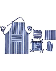 [Nords Home] [kitchen set of 7 pieces] [100% cotton] [2x kitchen towel / cloth, dishcloth, tea cloth, napkins], [1x kitchen apron with pocket] [2x eyelet pot holders Heat resistant], [1 X Oven/kitchen glove, non-slip, heat resistant] [1x folding bread basket, storage basket, ]