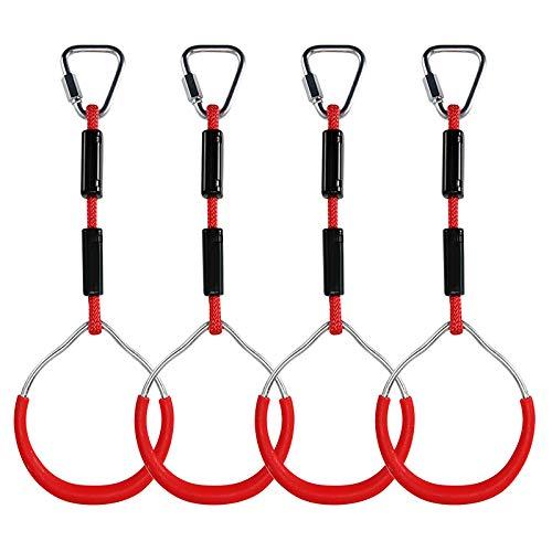Kinder klettern Ringe, Multifunktions turnringe Kinder Klettergeräte Schaukel mit Kunststoff Turnringen zum Aufhängen belastbar bis 160KG, für Ninja Ring Kletter Ring Hindernis Ring Garten Schaukel