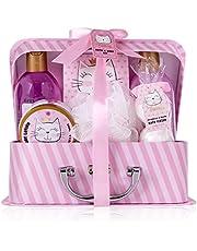 Accentra Set de baño y ducha Princess Kitty para mujeres y niñas, con dulce aroma a fresa y vainilla, 7 piezas en estuche de papel