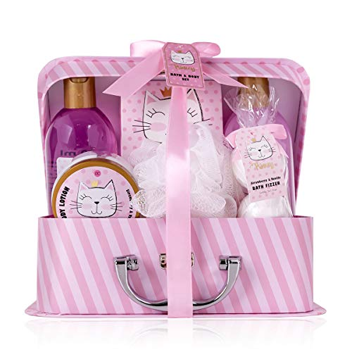 accentra Bade- und Dusch- Set Princess Kitty für Frauen und Mädchen, mit süßem Erdbeere & Vanille Duft, Geschenk-Set verpackt in einem Papierkoffer, 7 Stück