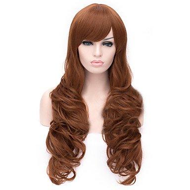 Meylee Perruques GHHPO le nouveau noir de perruque Cartoon couleur noyer incliné perruques cheveux bouclés Bang
