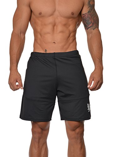 YoungLA Mens Workout Shorts Casual Gym Athletic Activewear Bodybuilding w/Zipper Pockets 111 Black Large