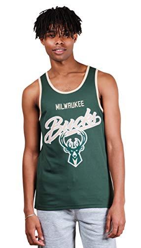 Ultra Game NBA Milwaukee Bucks Mens Jersey Tank Top Mesh Sleeveless Muscle T-Shirt, Team Color, Large