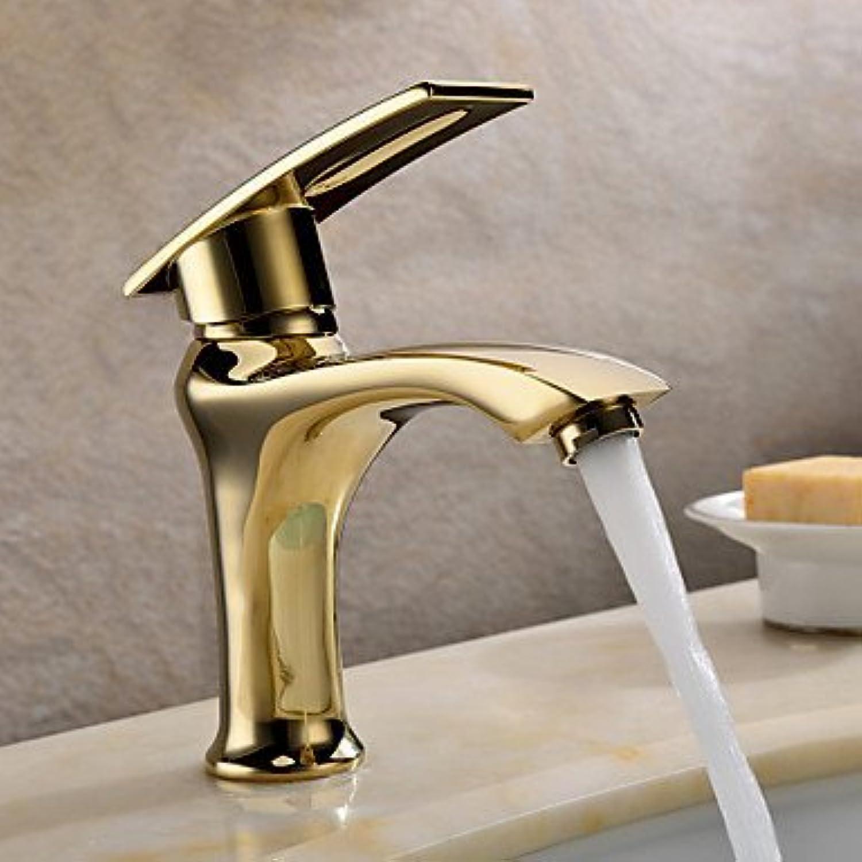 SEBAS Home Becken Wasserhahn Personalisierte Waschbecken Wasserhahn Ti-PVD Fertig massivem Messing Einhandgriff, Times New Roman Bad Wasserhahn Waschtischarmatur
