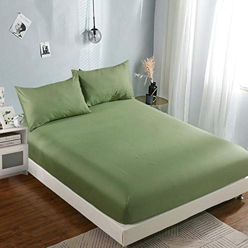 N / A Double Fitted Sheet,King bed non-slip protective cover, cotton hotel bed cover, girl bedroom sheets-Green_A_180×220cm