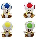 N\A Super Marrio Bros Peluches Regalos para Niños - 4PCS / Set 16CM Red Toad 4 Juguetes Rellenos de Color