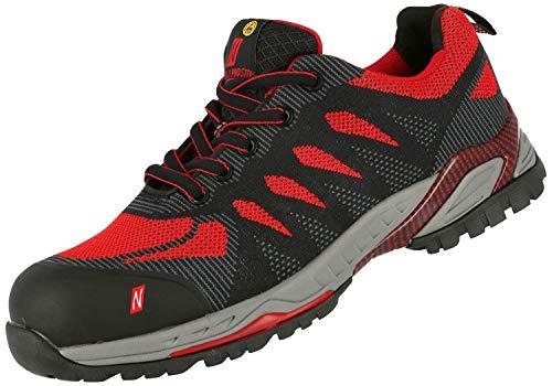 Nitras 7410 ESD Arbeitsschuhe S1P SRC Sportlicher Sicherheitsschuhe mit Zehenkappe Metallfrei & Durchtrittssicher Antistatisch und Ableitfähige Schuhe Größe: 45, Schwarz/Rot