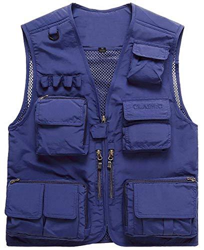 Herren Outdoor Schnell Einfacher Trocken Taschen Mesh Multi Stil Westen Männer Nner Jagd Und Anglerweste Gerweste Arbeitsweste Rmellose Jacke Top (Color : Blau, Size : 3XL)