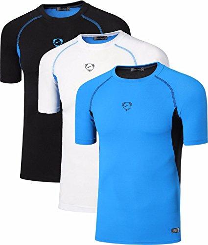 jeansian Hombres Camiseta Deporte Delgado Tapas Men Quick-Dry T-Shirt Sport Slim Tops 3 Packs LSL154 PackB S