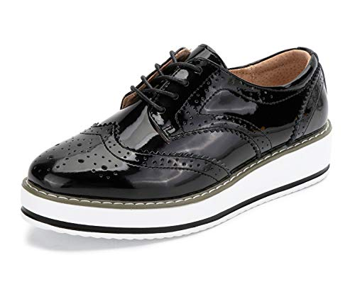 [YiCeirnier] レディースオックスフォードシューズ レースアップシューズ 身長アップ カジュアル 厚底靴 女性 女子用 366-hei-23.5cm37