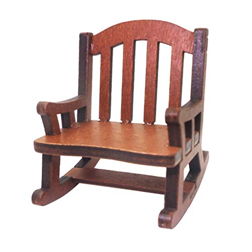 perfeclan 1:12 Casa de Muñecas Muebles de Habitación en Miniatura Mecedora de Madera Asiento Tejido Artesanía