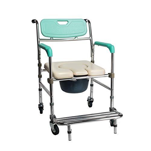 Silla de Ducha con Ruedas/Silla de Ruedas con Inodoro/Aleación de Aluminio/Frenos de 4 Ruedas (360 °) / Altura Ajustable/para Discapacitados, Discapacitados, Personas Mayores