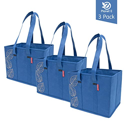 Planet E Reusable Grocery Shopping Bags Large Collapsible Boxes With Reinforced Bottoms (Pack of 3, Navy)