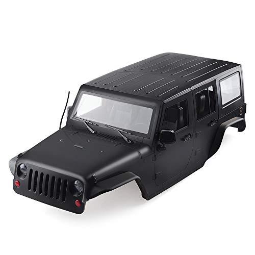INJORA RC Carrocería Kit 313mm Distancia Entre Ejes Corpo Cuerpo Jeep Wrangler Body Car Shell para 1/10 RC Crawler Axial SCX10 SCX10 II 90046 90047 (Negro)