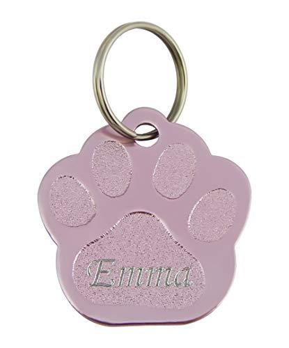 Hanessa Colgante de huella de perro grabado en color rosa, placa de dirección, placa de...