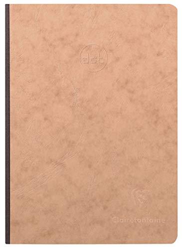 Clairefontaine 79543C - Un cahier broché dos toilé Age Bag 192 pages 14,8x21 cm 90g Dot (petits points), couverture carte lustrée grain cuir, Tabac