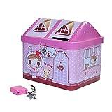EQLEF® Caja de Dinero para niños Forma Linda de casa Banco de Monedas, Caja de hojalata con Regalo de cumpleaños de Toy Lock para niñas
