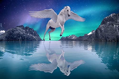 VLIES Fototapete-PEGASUS-(2633s)-350x260 cm-geflügeltes Pferd Mythologie Wesen Sage Sternbild Wandbild Wandtatoo Poster Moderne Tapete Sonnenuntergang