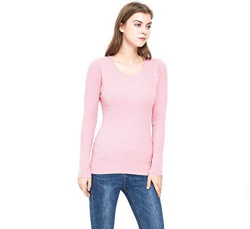ZLUXURQ Suéter Rosa de Manga Larga con Cuello Redondo para Mujer, Corte Ajustado, cómodo y cálido