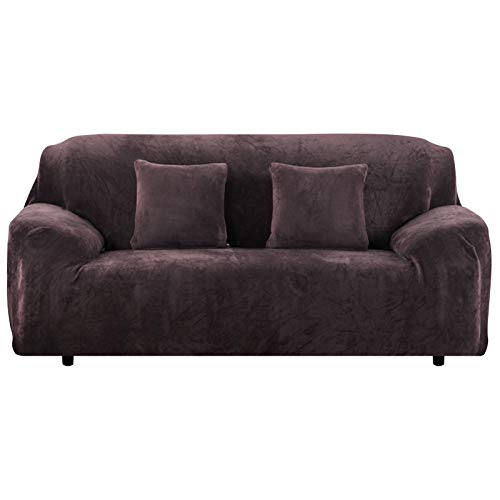 Yeahmart Thick Sofa Covers 1/2/3 Seater Pure Color Sofa Protector Velvet Easy Fit Elastic Fabric Stretch Couch Slipcover (Brown, 3 Seater 195-230cm)