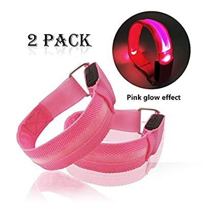 LED Armband for Running Cycling Exercising Glow Light up in Dark Night Running Gear Safety Reflective Sports Event Wristbands with USB Charging Cord (2 Pack Pink)