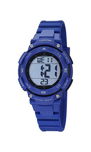 Calypso–Reloj Digital Unisex con LCD Pantalla Digital Esfera Azul y Correa de plástico K5669/6