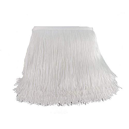 KOLIGHT 10 yards Breedte 12 inch Polyester Kant Tassel Fringe Trim Decoratie voor Latijnse Jurk Stage Kleding Lampenkap (wit)