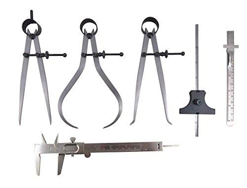 "Taytools 6 Piece Measuring Set/Kit with 6"" Spring Dividers, Inside & Outside Calipers, Depth Gauge, Pocket Ruler, Vernier Caliper 113500"