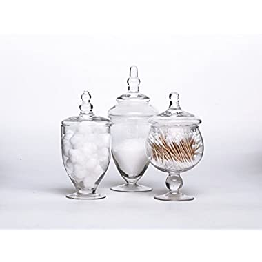 Set of 3 Clear Glass Apothecary Jars - Wedding Candy Buffet Containers