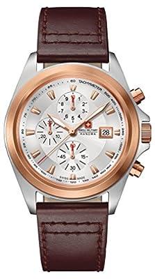 Reloj masculino Swiss Military, con mecanismo de cuarzo, esfera analógica plateada y correa de piel, SM33786AEU/H02TXS