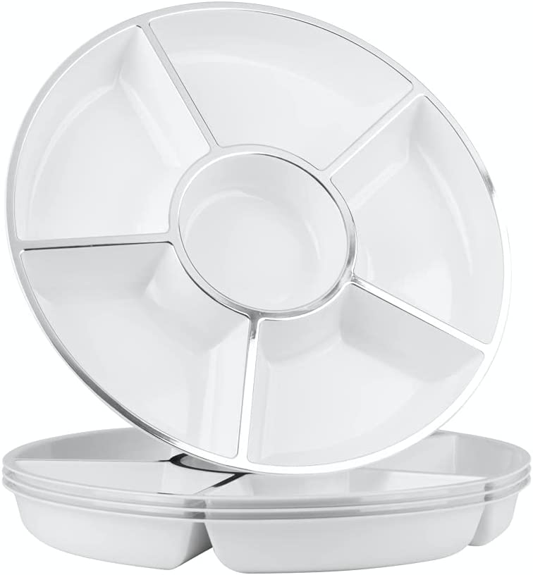   Party Bargains 6 Sectional Round Plastic Serving Tray, Size: 12 inch, Color: White/Silver, Pack of 4: Platters