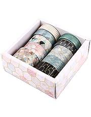 NUOBESTY Zestaw 10 rolek taśmy Washi maskujące geometryczne dekoracyjne taśmy maskujące do scrapbookingu dekoracyjne taśmy do etykietowania do majsterkowania