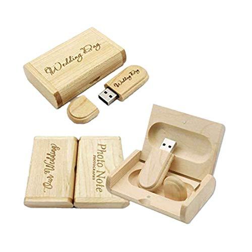 Unidad de Memoria USB Personalizable con Grabado láser de Madera Maciza para Bodas, Ceremonias de Boda, personalización de la Empresa, Regalo Personal