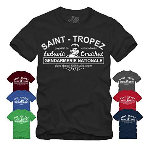 Saint Tropez Gendarmerie Nationale T-Shirt Louis de Funes Balduin Saint Tropez Fantomas (L, Grau)
