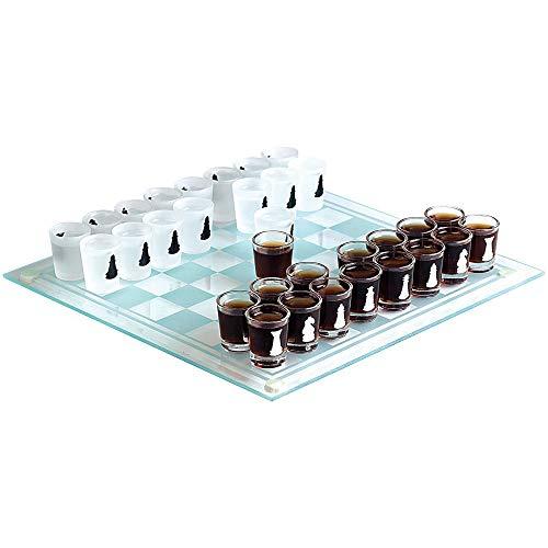 Monsterzeug Trinkspiel Schach mit 32 Schnapsgläsern, Partyspiel aus Glas mit Shotgläsern, Saufspiel für Erwachsene