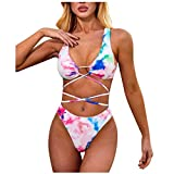 Conjunto de Bikini de Moda Tie-Dye para Mujer Correa Sexy Corbata de Tiras Acolchado Bra Tops y Braguitas Bikini Sets Talla Grande Ropa de Playa riou