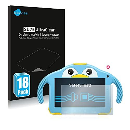 savvies Protector Pantalla Compatible con Yenock MID-1013 Kids Tablet 7' (18 Unidades) Película Ultra Transparente