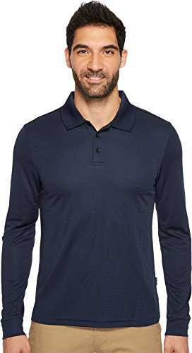 Perry Ellis Men's 3 Button Long Sleeve Jacquard Polo, Ink, Medium