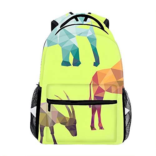 Cute Lightweight Polygonal Silhouettes Of African Animals Bookbags School Backpacks for Teen Girls