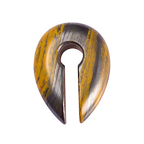 CHICNET Pendiente en forma de gota con agujero de llave, peso de 23 g, piedra natural, en forma de espiral, en color naranja, marrón y gris, a partir de 12 mm de dilatación, dilatador de oreja.