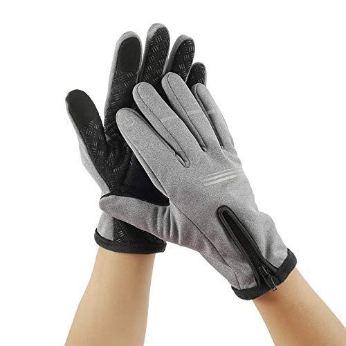 Guantes de invierno unisex para pantalla táctil, cálidos, ciclismo, esquí, camping, senderismo, deportes al aire libre, deportes, dedos completos, color gris, L, A2
